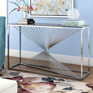 Kendra Glass and Stainless Steel Console Table by Willa Arlo Interiors