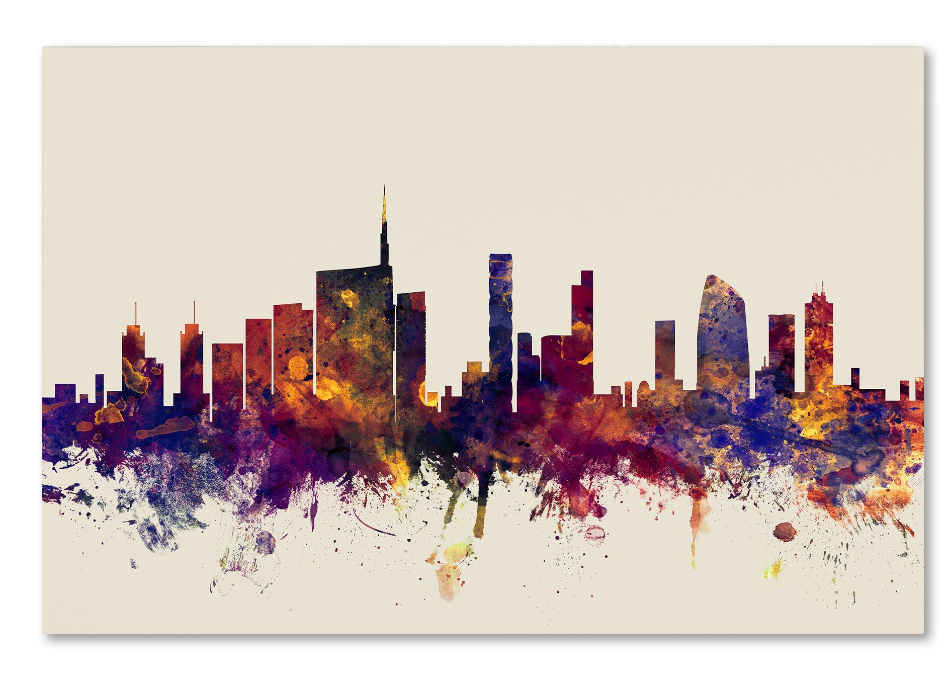 Ivy Bronx Milan Italy Skyline Graphic Art On Wrapped Canvas Wayfair