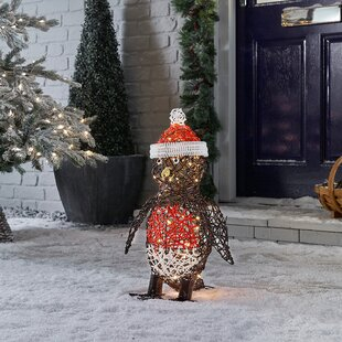 Battery Operated Outdoor Rattan Robin Christmas Figurine By The Seasonal Aisle