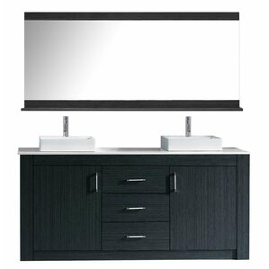 glen ridge 72 double bathroom vanity set with white top and mirror - White Bathroom Cabinets And Vanities