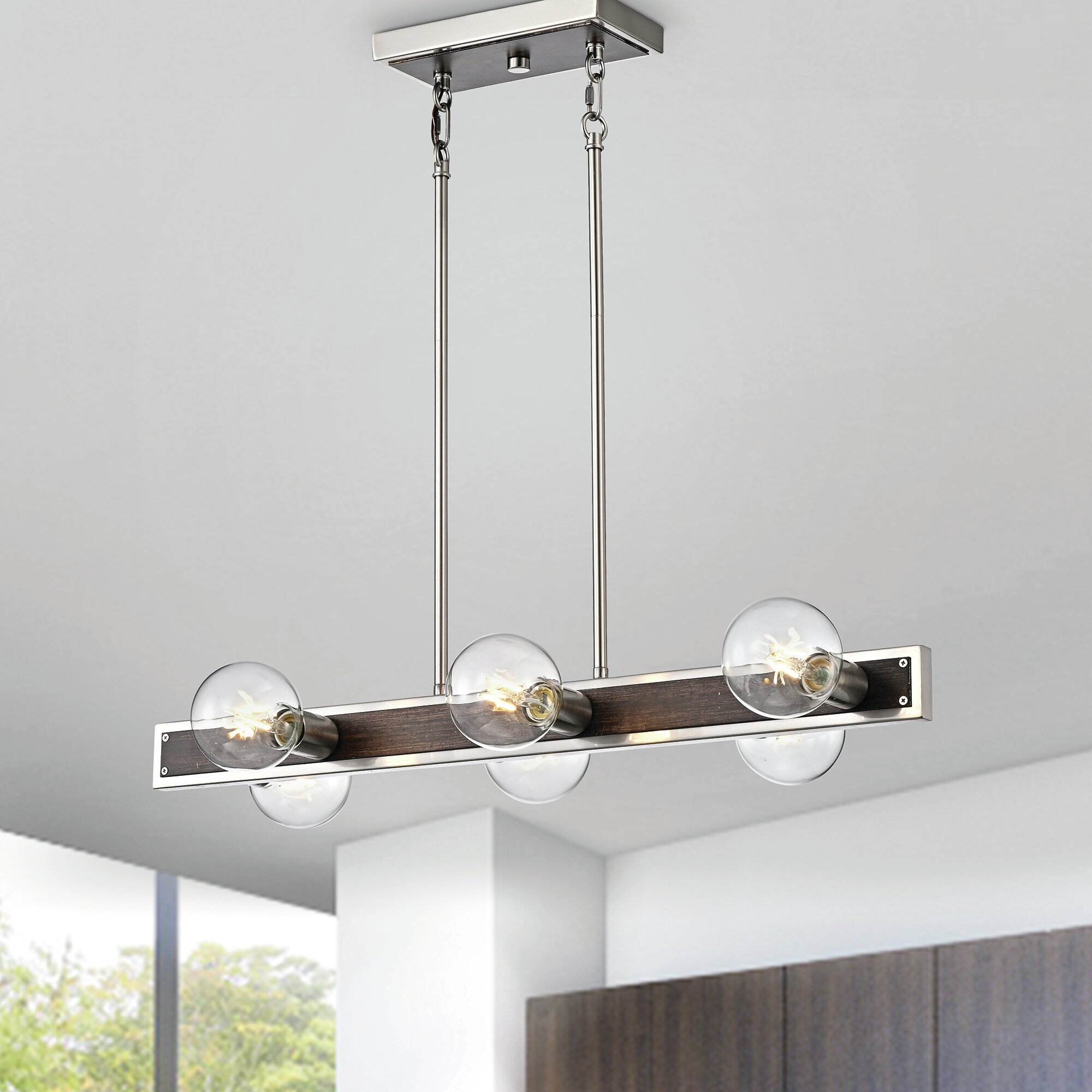 Wrought Studio Brewen 6 Light Kitchen Island Linear Pendant With Wood Accents Wayfair Ca