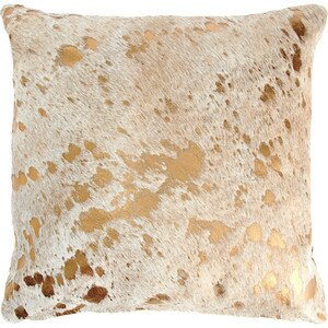 Metallic Cowhide Throw Pillow