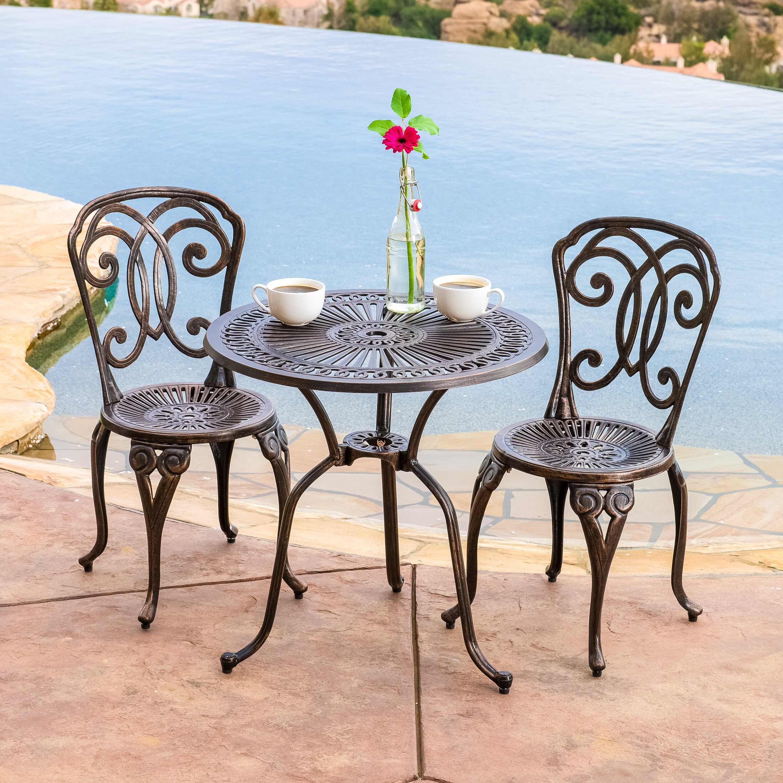 home loft concepts stella 3 piece cast aluminum outdoor bistro set
