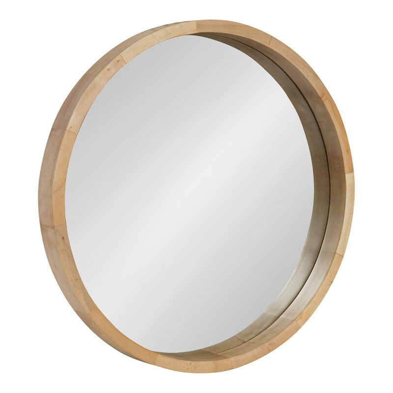 Loftis Round Wood Frame Wall Mirror