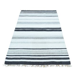 Affordable Lorusso Flat Weave Striped Reversible Kilim Oriental Hand-Knotted Charcoal Black/Ivory Area Rug ByBloomsbury Market