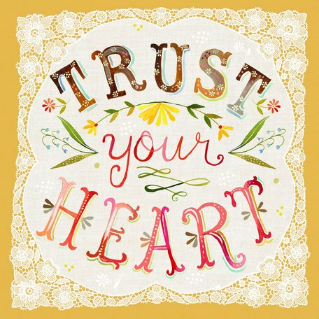 Trust Your Heart by Katie Daisy. Happy LOVE Day, Lovelies! Poetry, handlettered art, and colorful Valentine's Day finds await on Hello Lovely Studio!