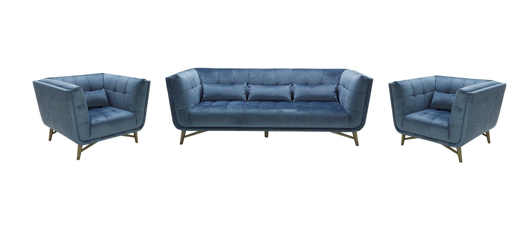 Brayden Studio Aaden 3 Piece Living Room Set & Reviews | Wayfair