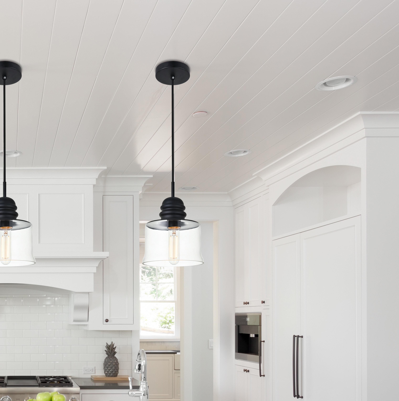 Gracie Oaks Zayn 1 Light Single Bell Pendant With Glass Accents Reviews Wayfair