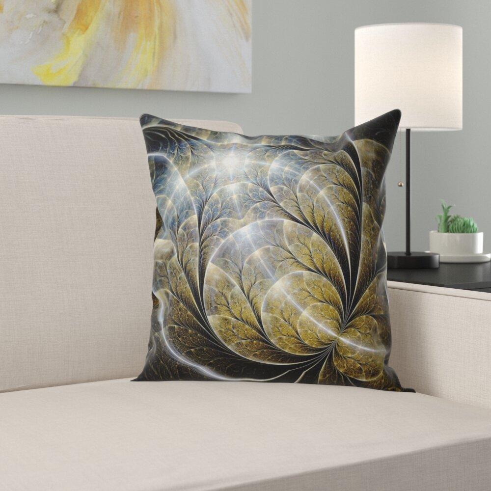 East Urban Home Floral Symmetrical Fractal Flower With Lighting Pillow Wayfair