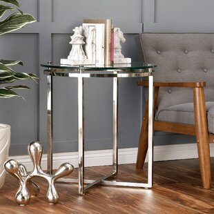 Cole & Grey Stainless Steel and Glass End Table