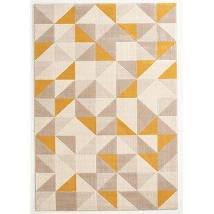 Teppich Canvas In Grau/Gelb
