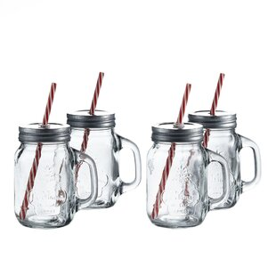 Hatton 16 oz. Mason Jar and Straw (Set of 4)