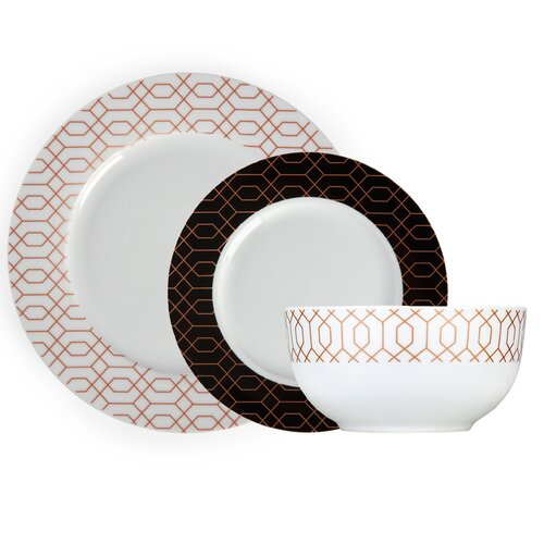 Tower Geo Patterned 12-Piece Dinnerware Set|