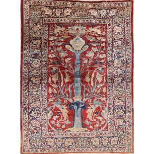 Compare & Buy One-of-a-Kind Mccord Heriz Geometric Persian Hand-Knotted 5' x 6'11 Silk Blue/Burgundy Area Rug By Isabelline