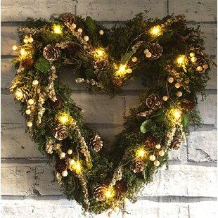 Mistletoe LED Heart 36cm Lighted Wreath By The Seasonal Aisle