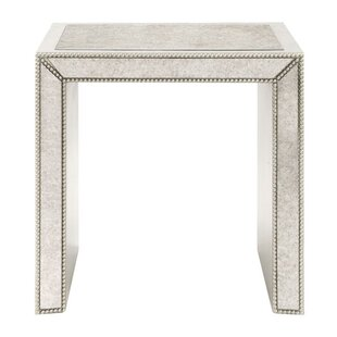 House of Hampton Kadence Antiqued Mirrored End Table