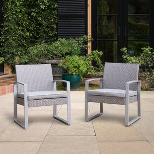 Ratcliff Wicker Patio Chair with Cushions (Set of 2)