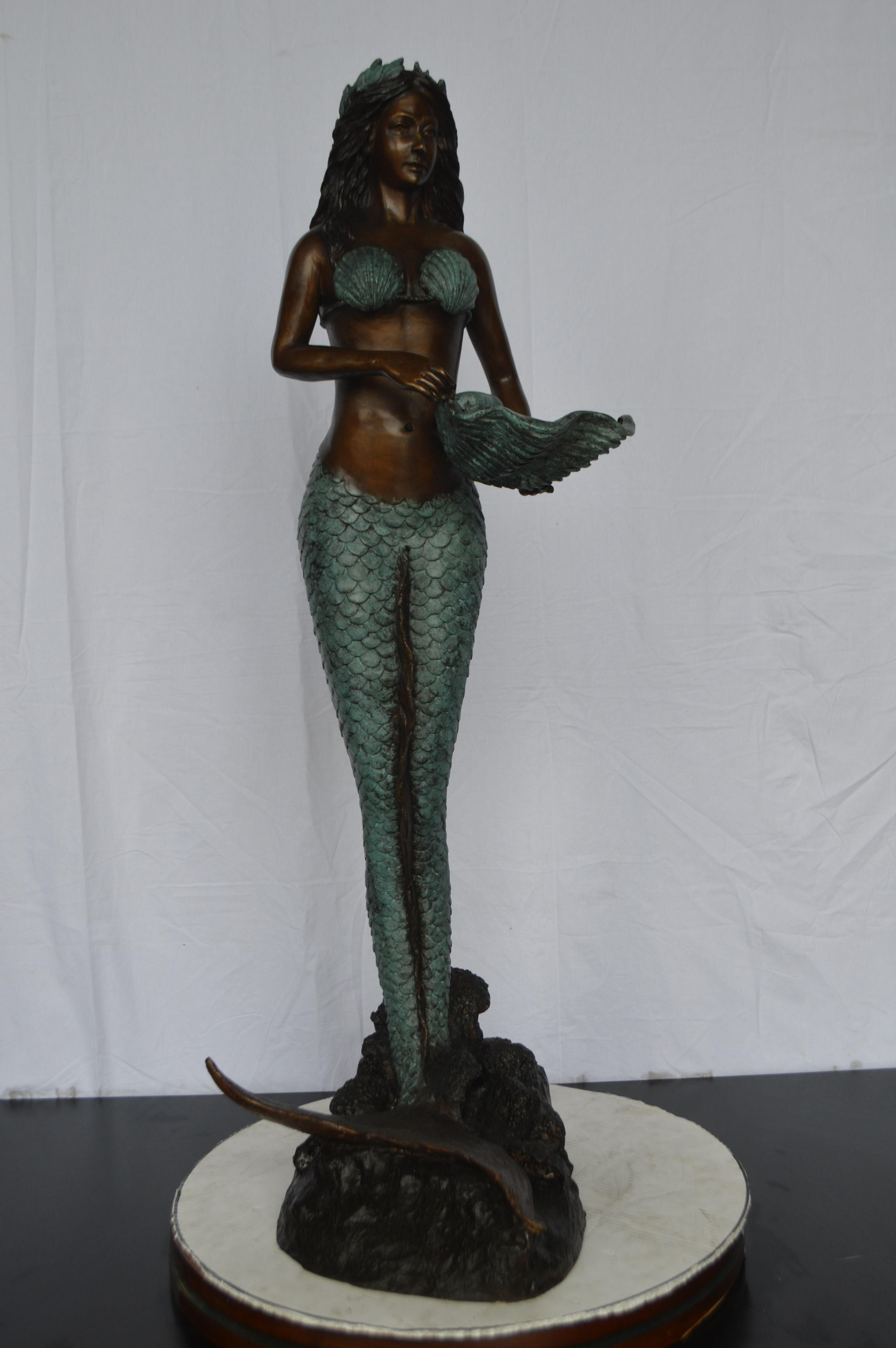 Nifao Copper And Metal Mermaid Holding A Shell Fountain Wayfair