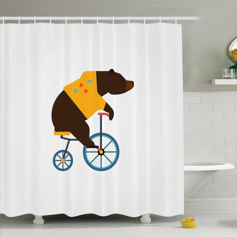 Ivor Bear Bicycle Circus Shower Curtain Set