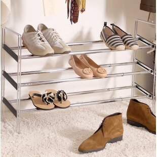 Top Reviews 3-Tier Expandable and Utility 18 Pair Shoe Rack By Rebrilliant