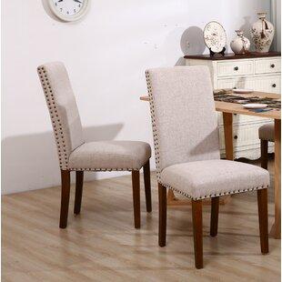 Varberg Linen Upholstered Parsons Chair in Beige Set of 2