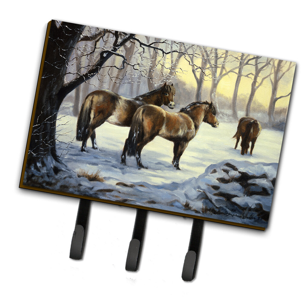 Caroline S Treasures Horses In Snow By Daphne Baxter Wall Key Organizer With Key Hooks Wayfair