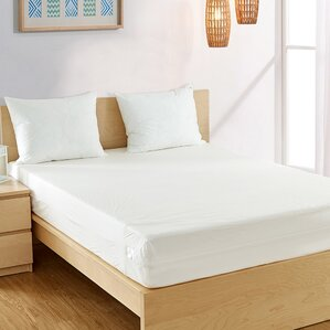 Hypoallergenic Waterproof Mattress Protector in Brushed silk by Alwyn Home