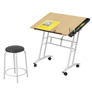 Offex 2 Piece Wood Drafting Table Set