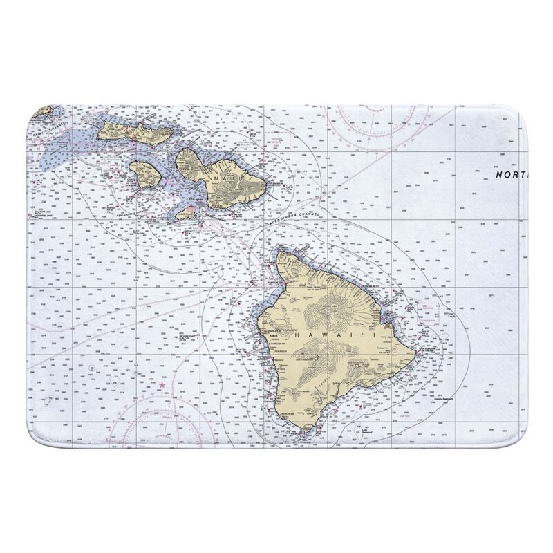 Breakwater Bay Nautical Chart Hawaiian Southern Islands Rectangle Memory Foam Non Slip Bath Rug Wayfair