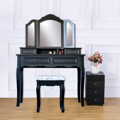 Black Vanities & Vanity Benches Nolany Bedroom Vanity Table ...