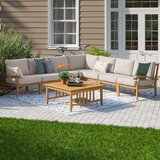 Summerton 8 Piece Teak Sectional Seating Group with Cushions byBirch Lane™ Heritage