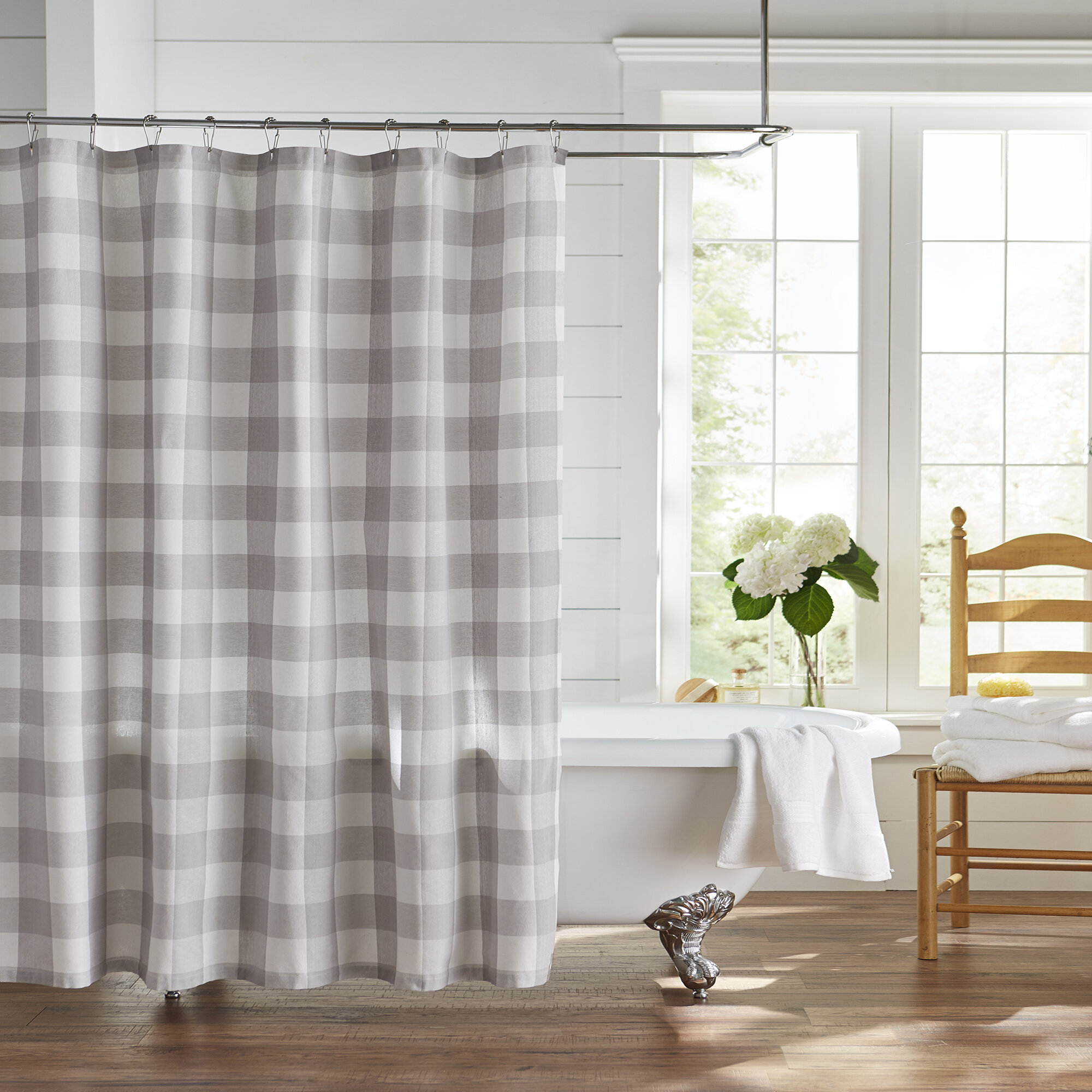 Metro Farmhouse Indigo.shower Curtain 100/%cotton.