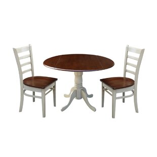 Broken Arrow 3 Piece Solid Wood Dining Set by Loon Peak 2019 Online