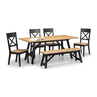 Review Mulford Dining Set With 4 Chairs And One Bench