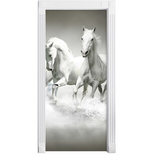 White Horses Running In Water Door Sticker By East Urban Home