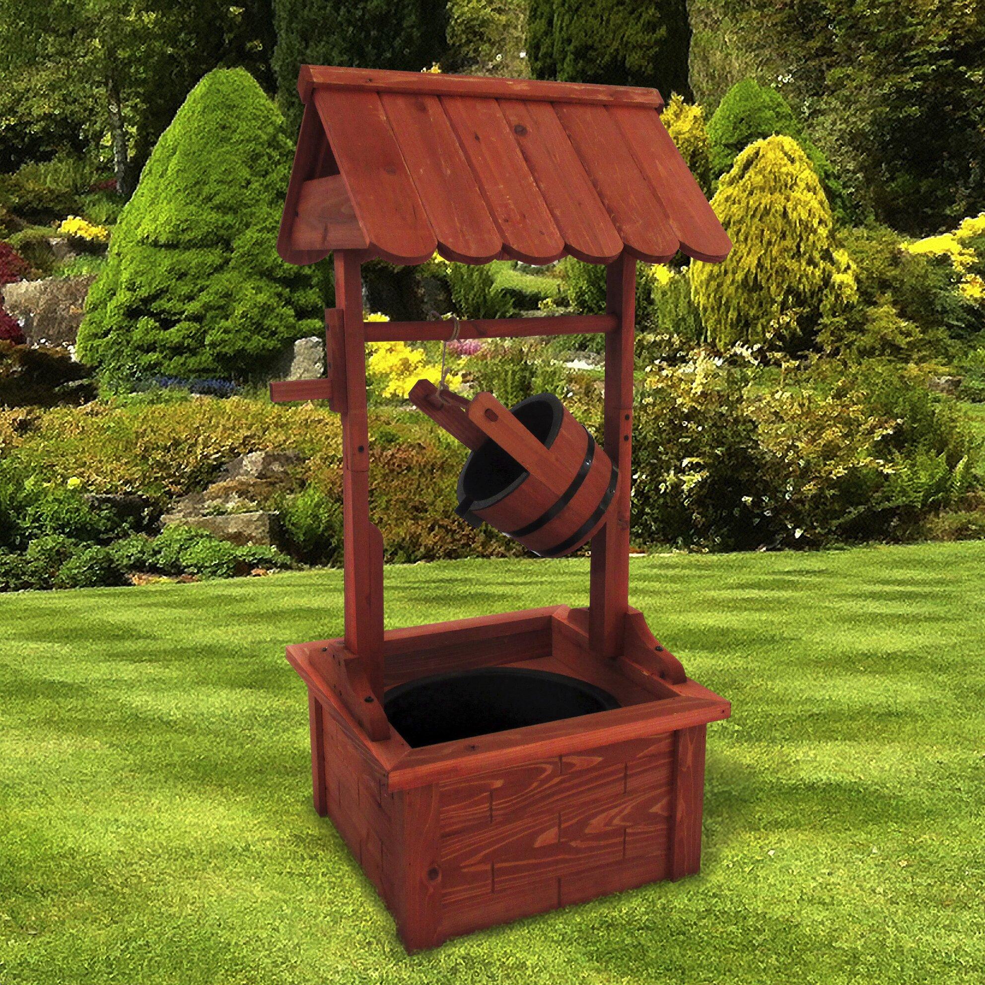 Wishing well lawn ornament - Wood Wishing Well Fountain