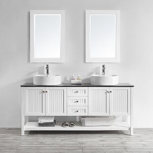 Nadler 72 Double Bathroom Vanity Set with Mirror by Beachcrest Home