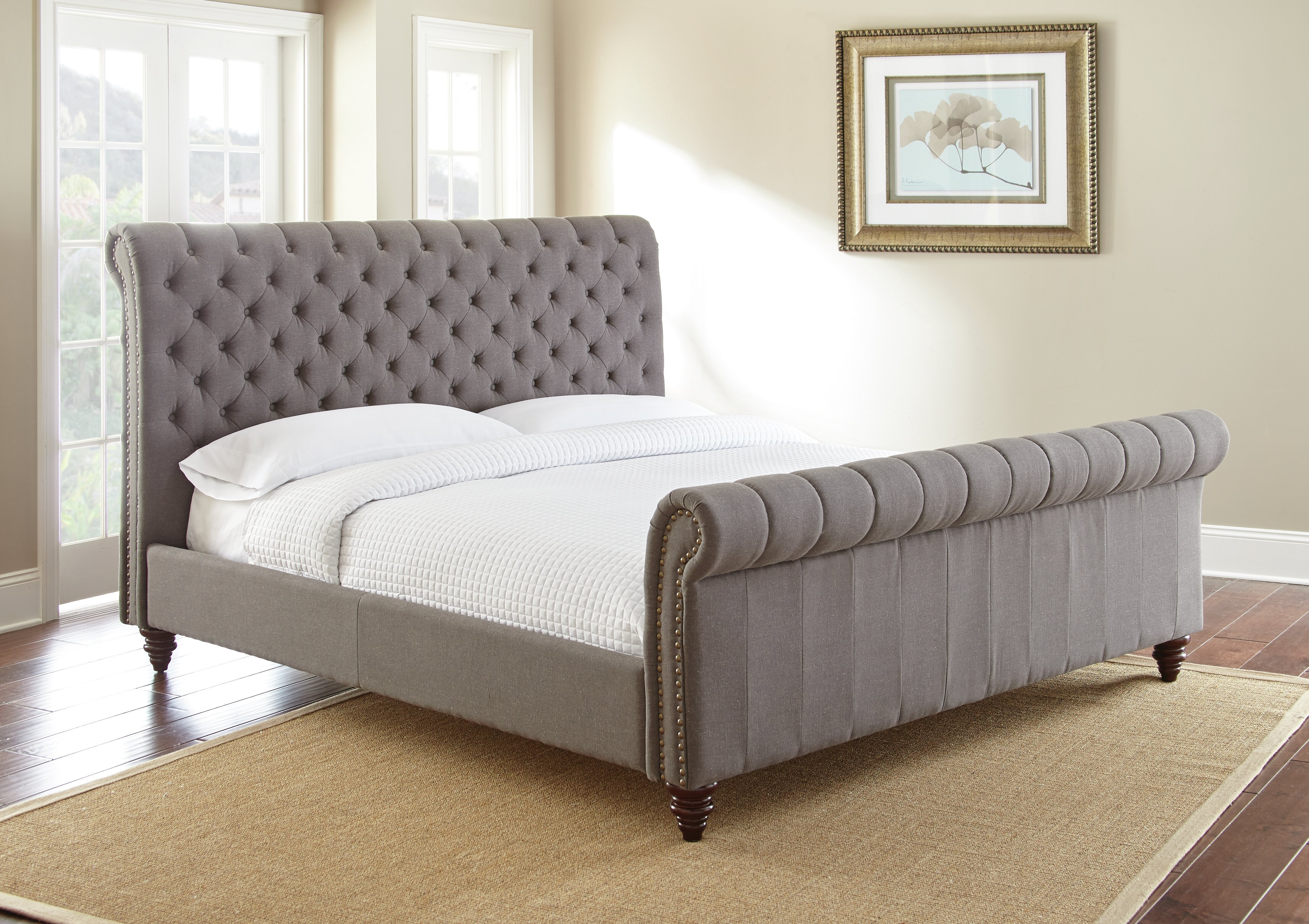 Darby Home Co Karsten Upholstered Low Profile Sleigh Bed Reviews Wayfair
