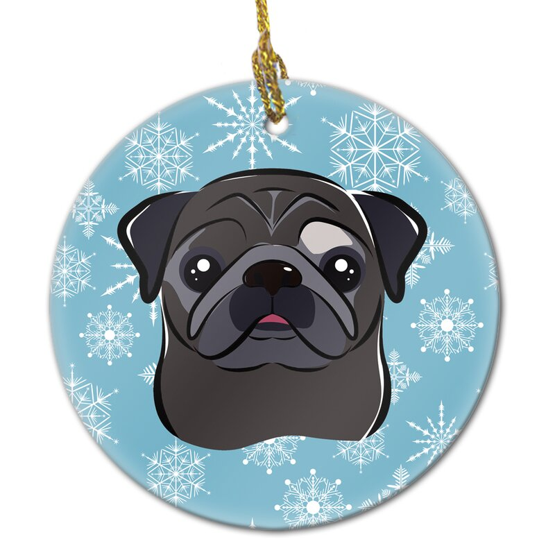 The Holiday Aisle Snowflake Pug Ceramic Hanging Figurine Ornament Wayfair