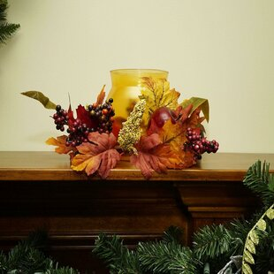 Autumn Harvest Apple and Berry Glass Hurricane by The Holiday Aisle