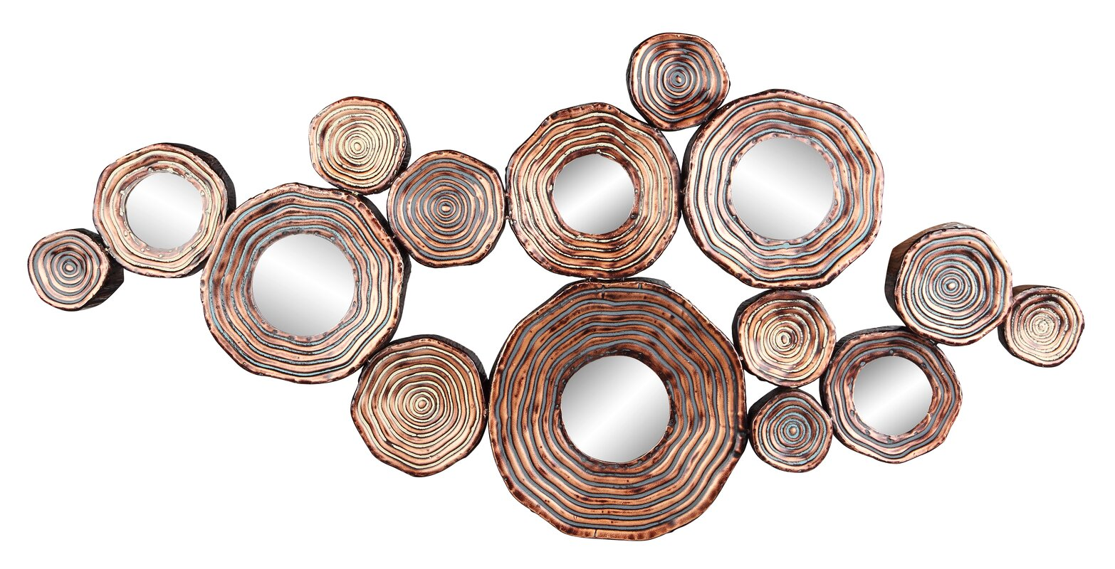 Metal Circle Wall Decor bloomsbury market circle metal and mirror cluster wall decor