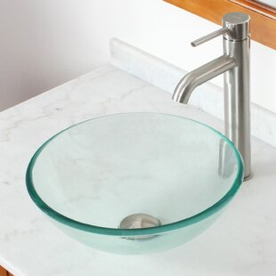Price comparison Tempered Glass Circular Vessel Bathroom Sink By Elite