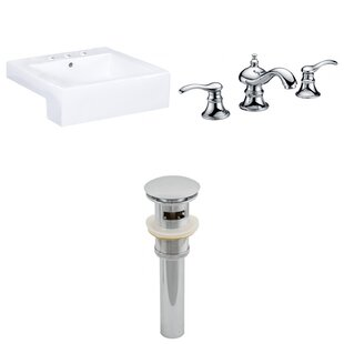 Read Reviews Xena Farmhouse Semi-Recessed Ceramic Rectangular Vessel Bathroom Sink with Faucet and Overflow ByRoyal Purple Bath Kitchen
