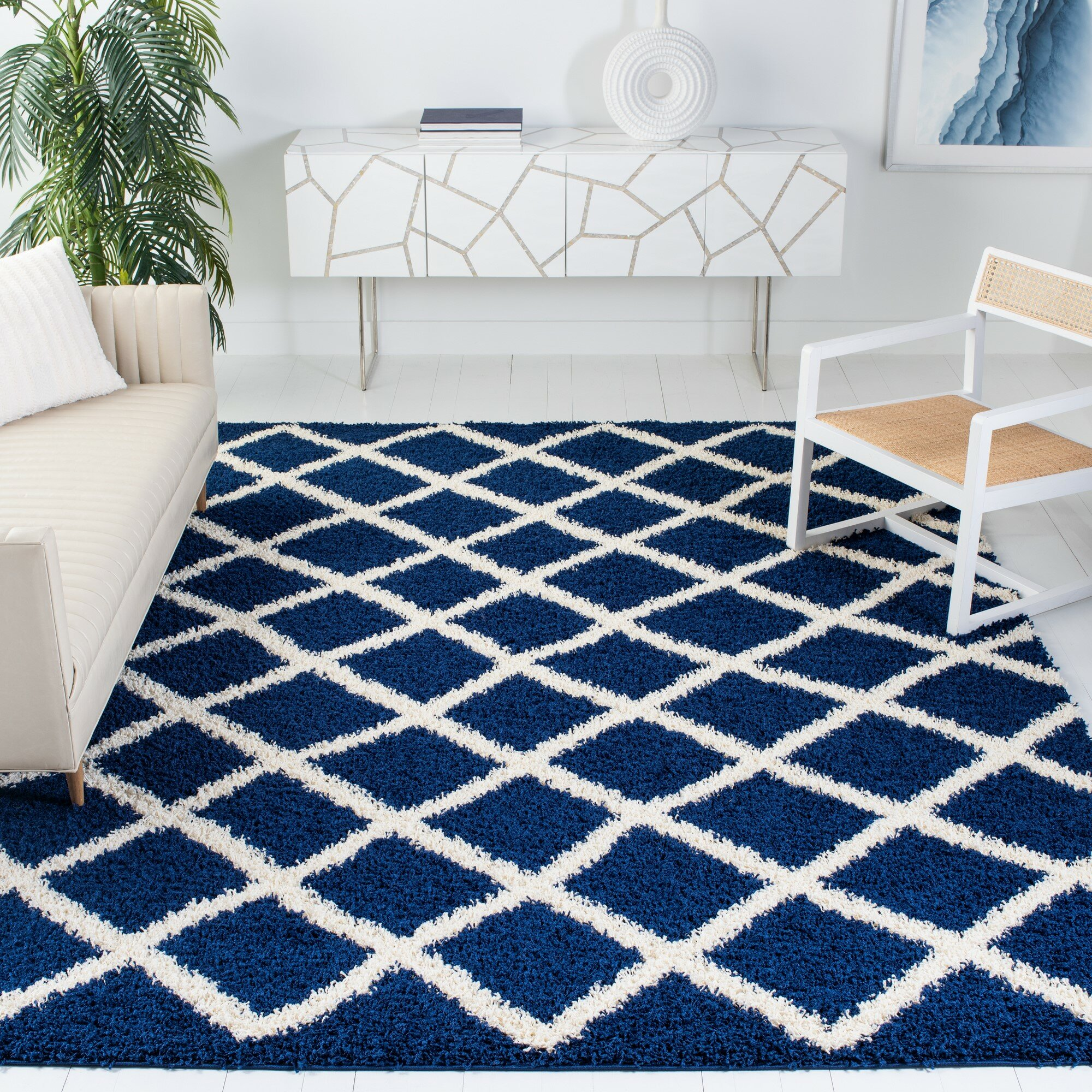 Latitude Run Albertha Power Loom Navy Blue White Indoor Outdoor Use Rug Reviews Wayfair