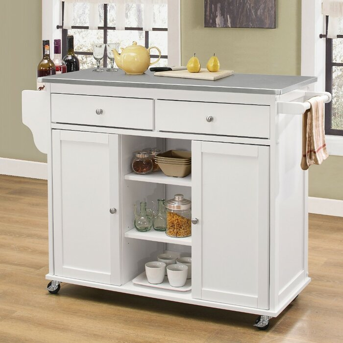 Krull Kitchen Cart with Stainless Steel Top