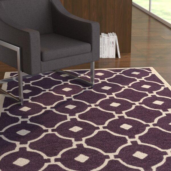 Latitude Run Kroeger Geometric Handmade Tufted Purple Ivory Area Rug Wayfair