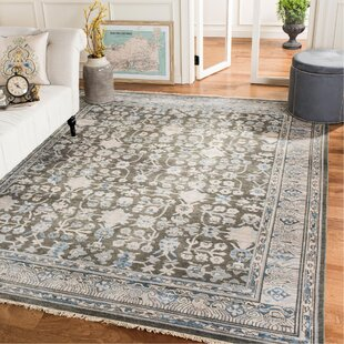 Price Check Aquilar Sultanabad Hand Knotted Wool/Cotton Blue/Charcoal Area Rug ByBloomsbury Market