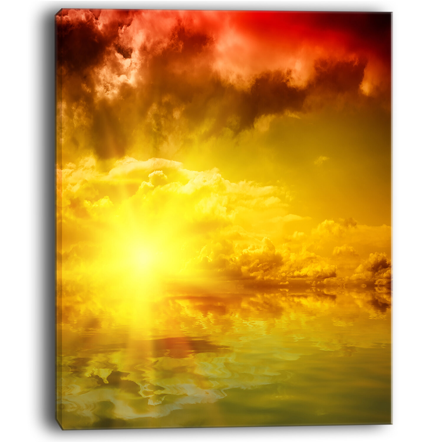 DesignArt Red Dramatic Sky with Yellow Sun Landscape Wall Art on ...