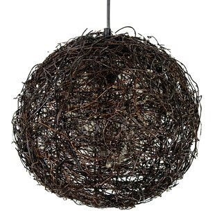 August Grove Alayah Rattan 1-Light Globe Pendant