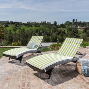 Brezza Modern Wicker Chaise Lounges with Cushion (Set of 2)